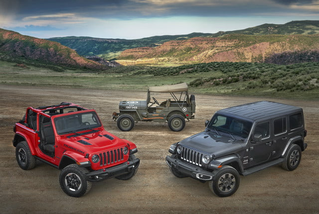 2018 Jeep Wrangler JL Rubicon and Sahara and 1944 Jeep-Willys Overland MB