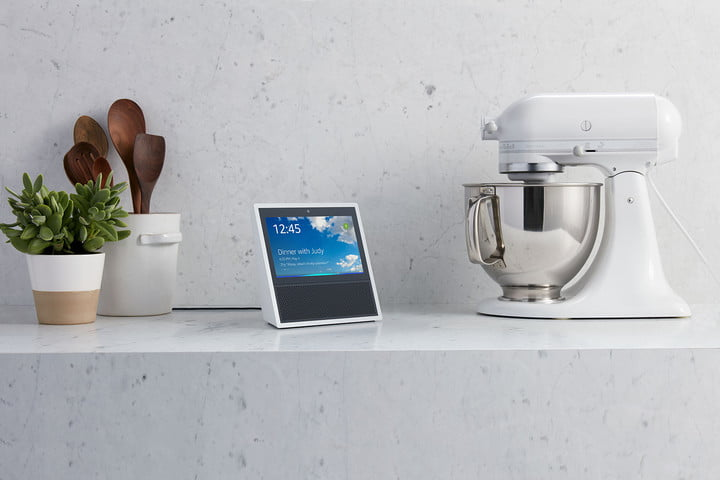 amazon echo show on white marble counter