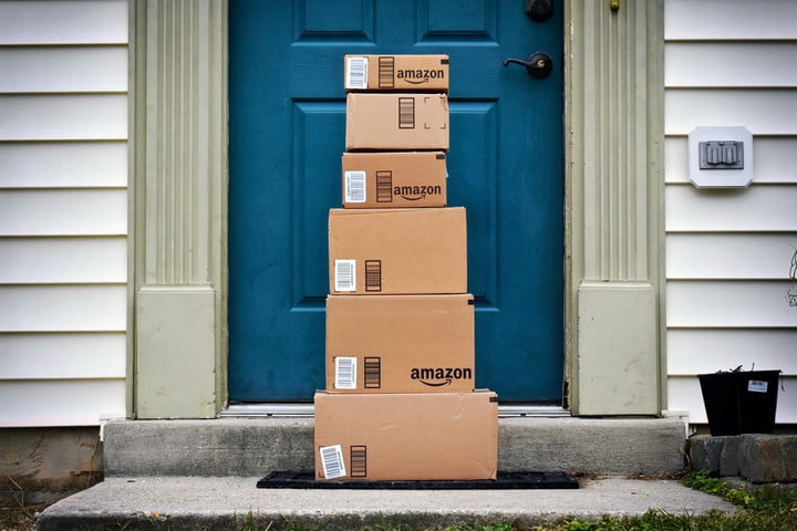 amazon boxes on doorstep