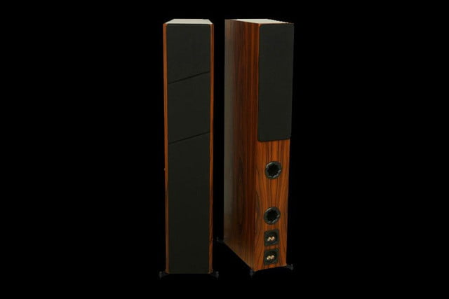 Axiom LFR1100 Floorstanding Speakers Boston Cherry front and back grilles