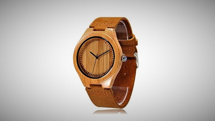 mens bamboo wooden watch cowhide strap