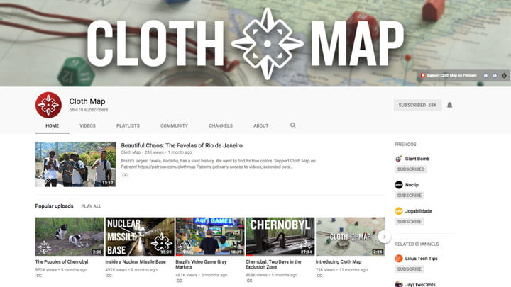 best youtube channels cloth map