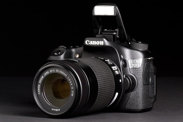 Canon EOS 70D front left angle flash