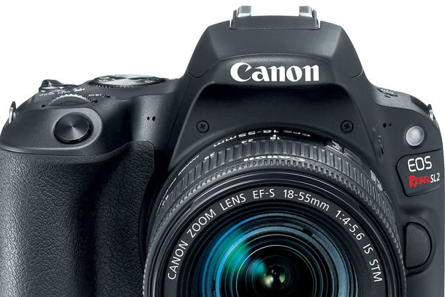 Canon EOS Rebel SL2 front with 18-55mm f/4-5.6 lens
