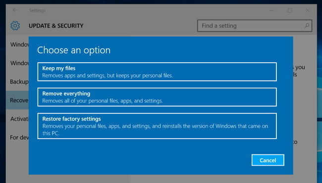 how to reset my laptop to factory settings windows 10