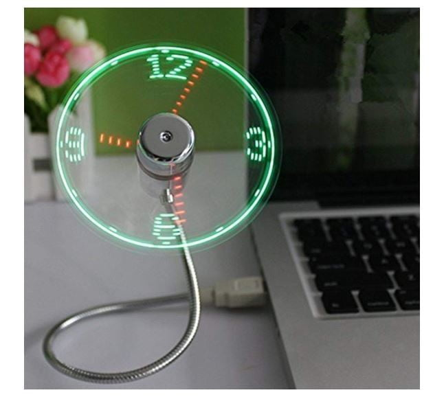ONXE USB LED Reloj Fan