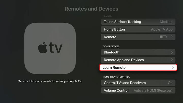 Apple TV Settings Remote Learning