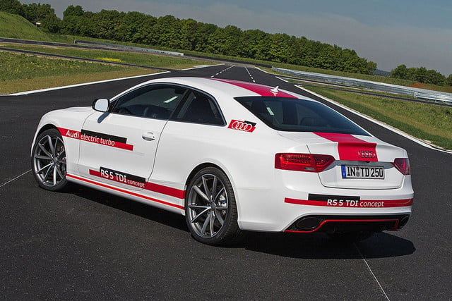 audis rs5 tdi concept uses electronic turbocharger developed le mans audi  press white rear angled