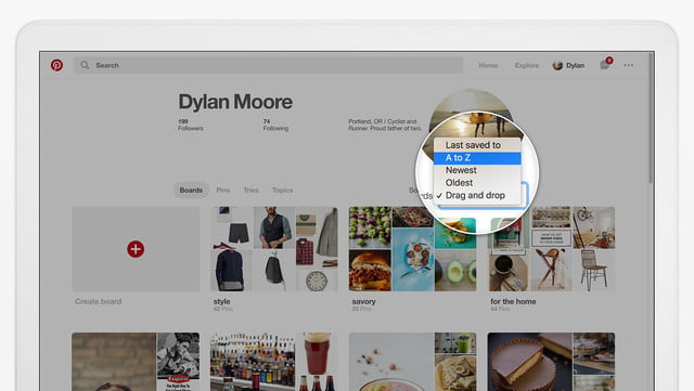 pinterest update organize andarchive boards board sort options