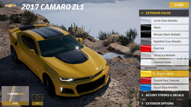epic games unreal engine 4 powers new chevrolet car customizer camaro configurator bright yellow