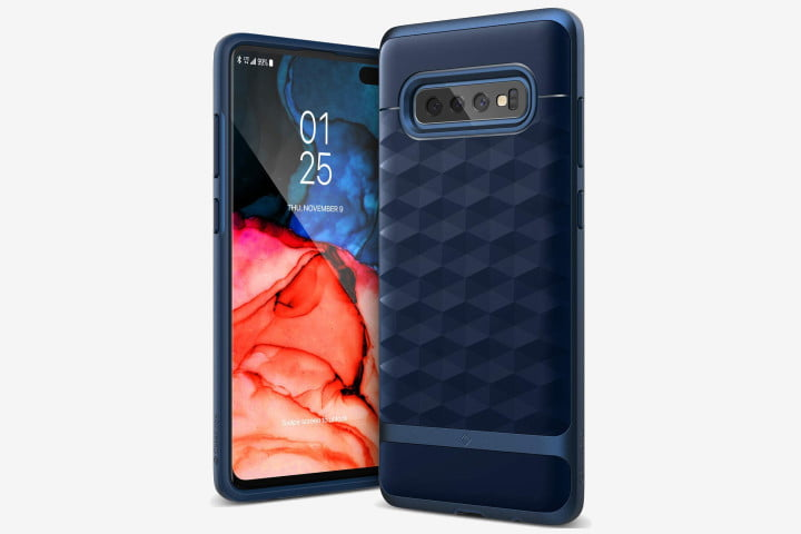 Photo shows a Samsung Galaxy S10 phone in a Caseology Parallax Case in Midnight Blue