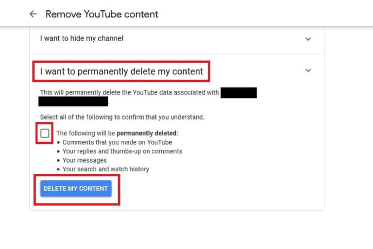Delete YouTube Channel content final steps screenshot