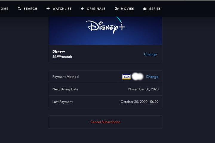 Image of Disney+ Cancel Account Button