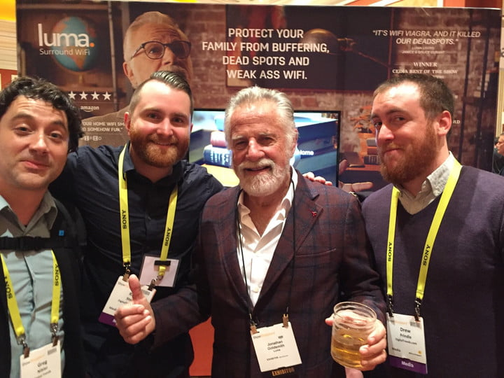 Drew Prindle and DT CES staffers with Jonathan Goldsmith