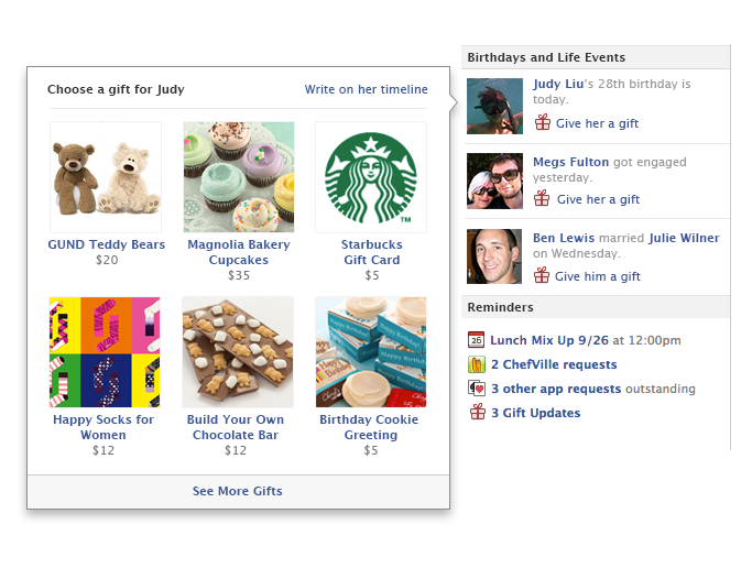 Facebook introduces its gifting service, Facebook Gifts