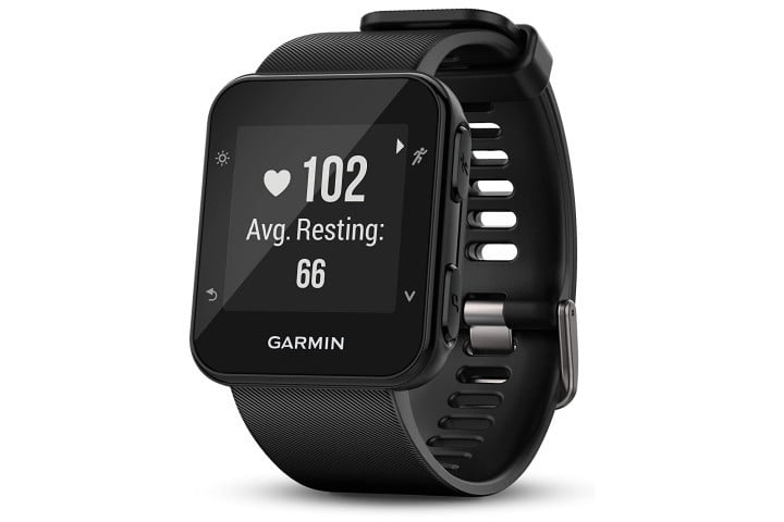 Picture shows the Garmin Forerunner 35 smartwatch in black
