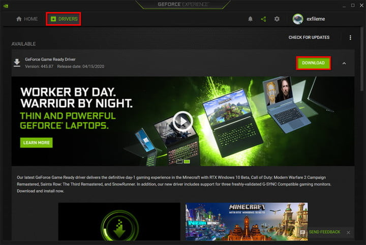 GeForce Experience Get Driver