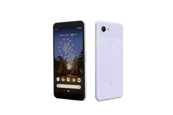 Photo shows the front and back view of a Google 3a XL phone in purplish