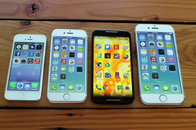 iPhone 5, iPhone 6, 2014 Moto X, and iPhone 6 Plus