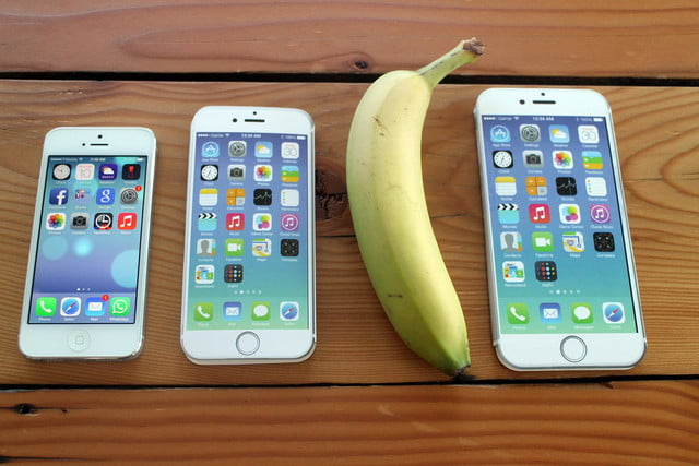 iPhone 5, iPhone 6, banana, and iPhone 6 Plus
