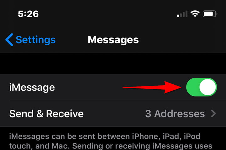 iPhone Enable iMessages