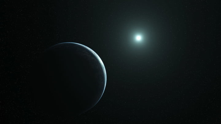 Rendering of a planet transiting a white dwarf star.
