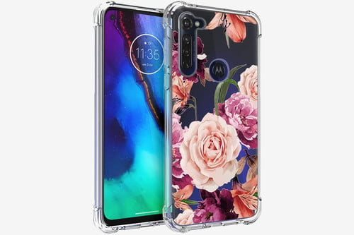 3 in 1 2020 Motorola G Fast Pink Petals Case for Girls Women with Tempered Glass Screen Protector Crystal Clear Shockproof Protective Phone Cover for Motorola Moto G Fast for Moto G Fast Case