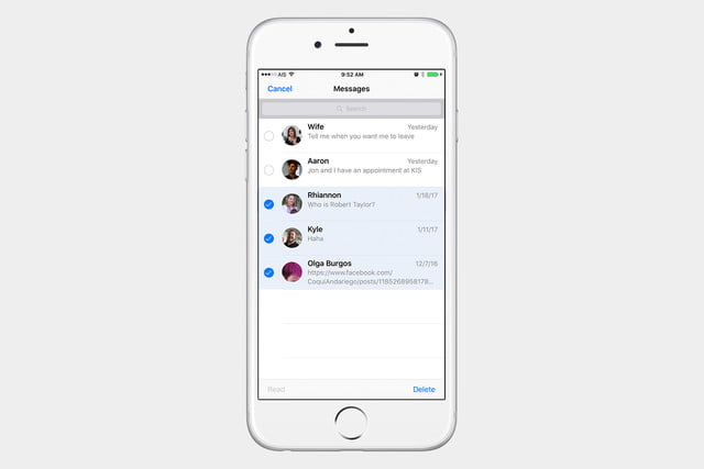 select messages to delete ios 10 2