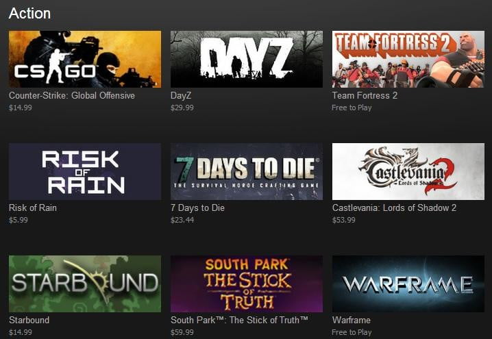 Steam Releases Its List of Top Selling Games by Revenue for