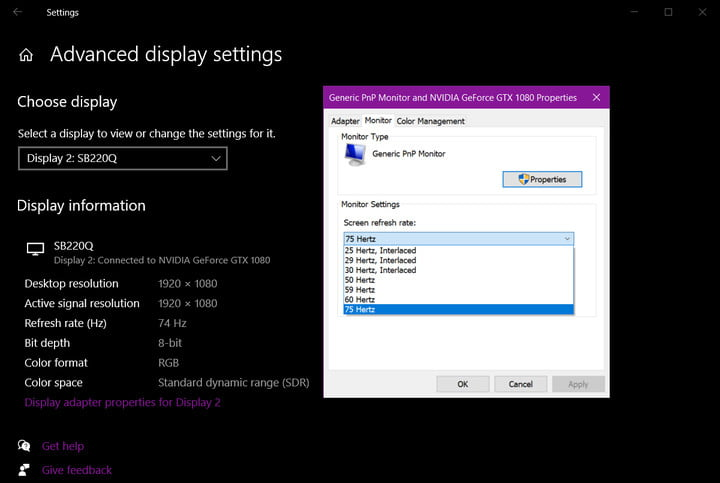 Windows 10 Change Refresh Rate