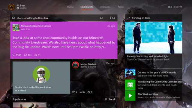 xbox one february update improves parties adds gamerscore leaderboards febraury trending feed