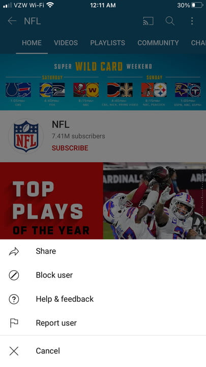 Image of YouTube Block User Button