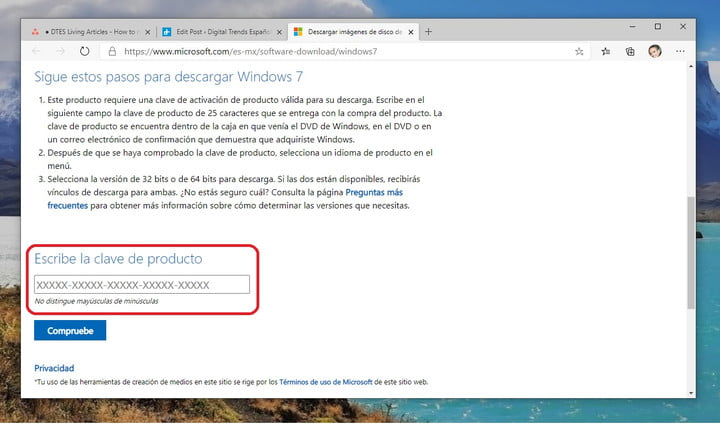 Microsoft page to download Windows ISO