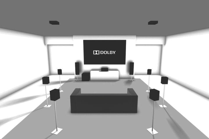 Dolby Atmos 9.1.2 layout using 11 channels with two in-ceiling height speakers