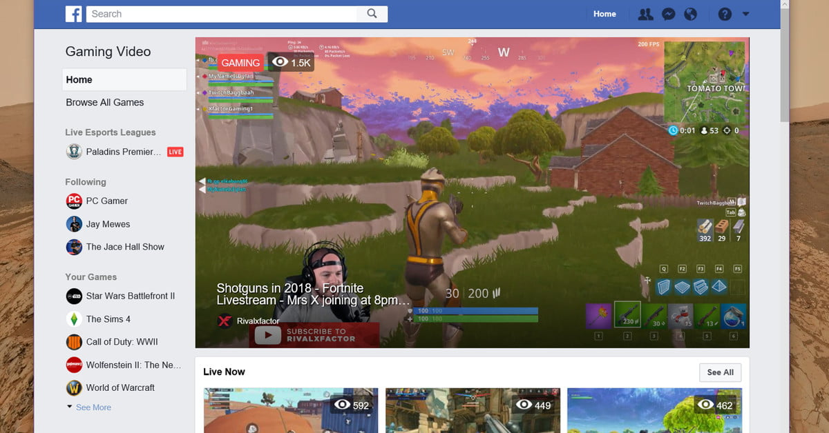 Facebook takes on YouTube, Twitch, and Mixer with a game broadcast channel