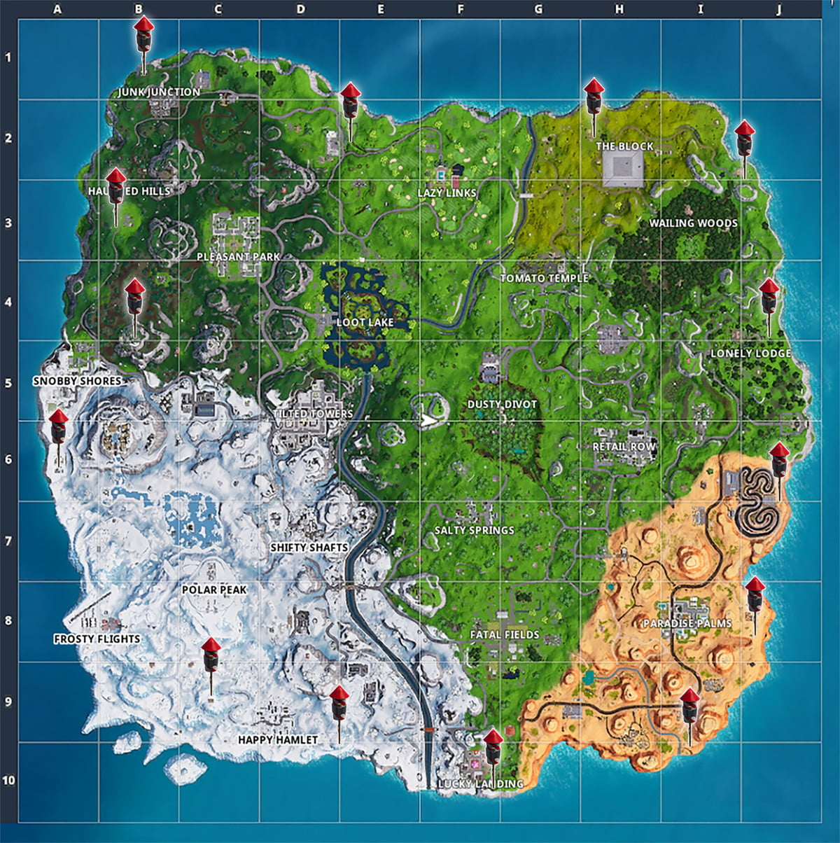 Fireworks locations on map | Fortnite Season 7 Week 4 Challenge guide: Launch fireworks at three locations
