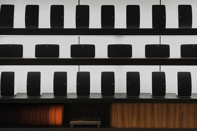 sonos retail store nyc sound front display and bronze cast technics turntable by steven haulenbeek