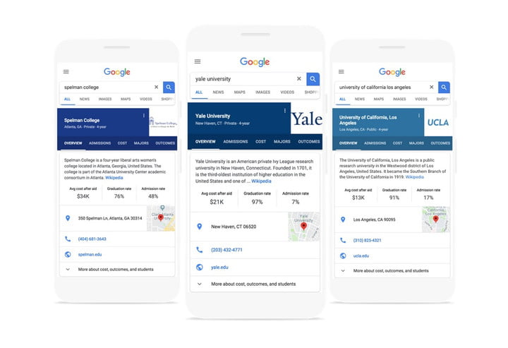 google adds college search feature tool
