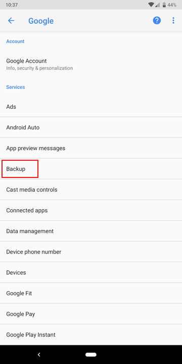 Google Android backup on Pixel 3
