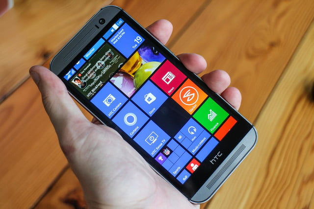 HTC One M8 w/ Windows hands on front angled