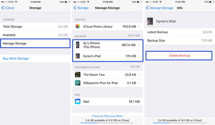 how to use icloud delete backup