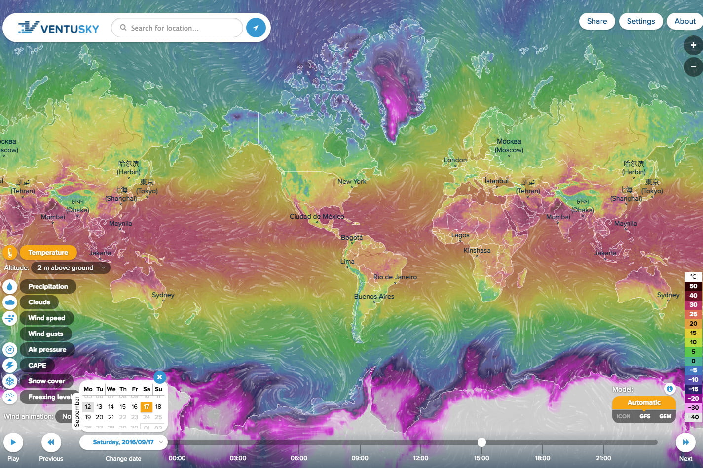 Ventusky is a beautiful weather map quite unlike any other