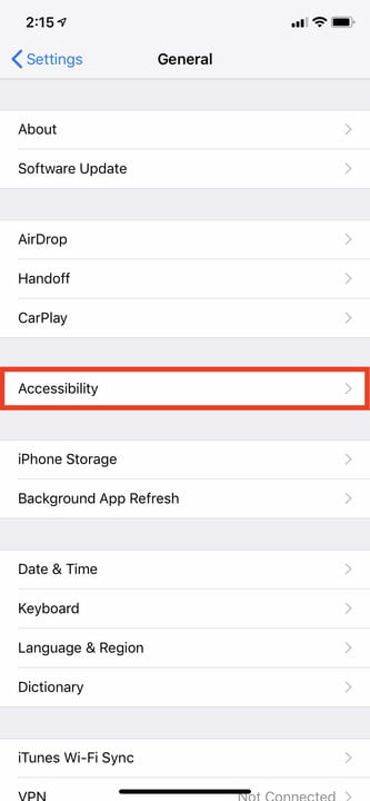 iphone xr settings ios 12 reachability 3
