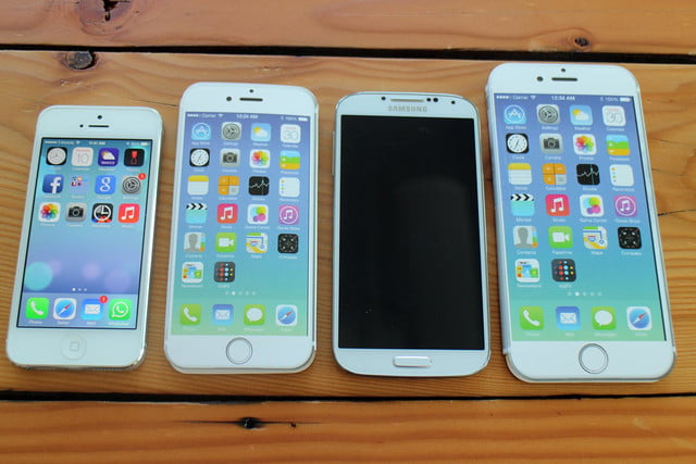 iPhone 5, iPhone 6, Samsung Galaxy S4, and iPhone 6 Plus