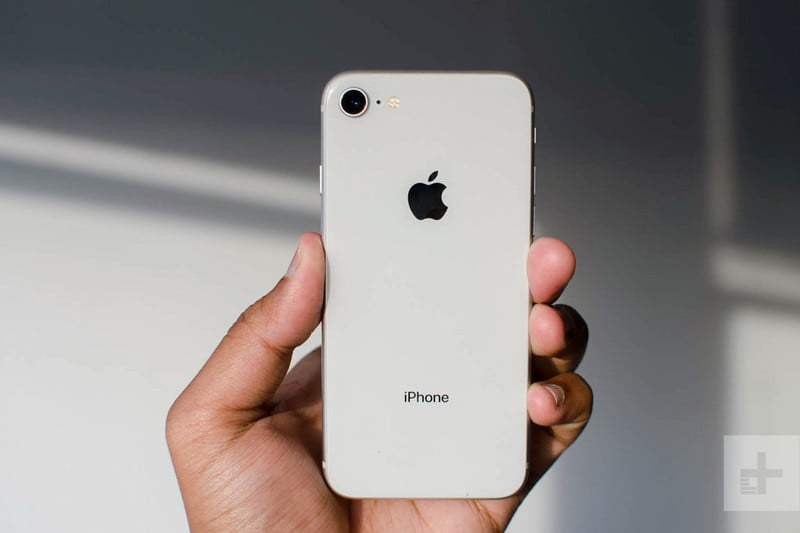 iphone 8 gold. apple iphone 8 review in hand logo iphone gold