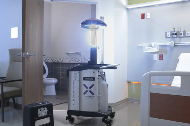 superbug zapping robot new jersey lightstrike in patient room with bathroom
