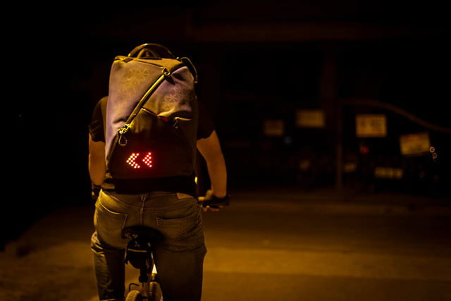 lumos aster commuter backpack rear view
