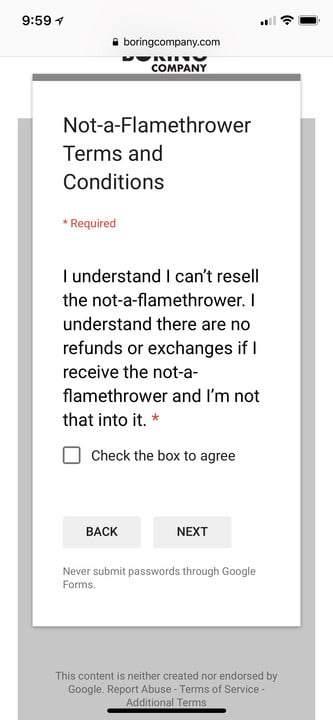 not a flamethrower terms and conditions naft6