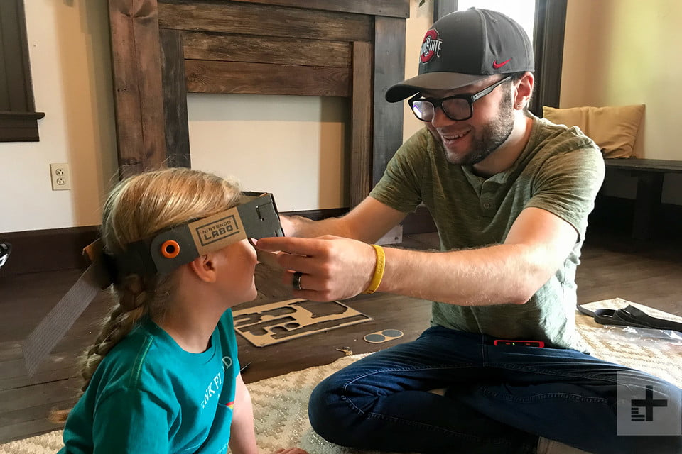 nintendo labo robot kit product experience review putting mask on