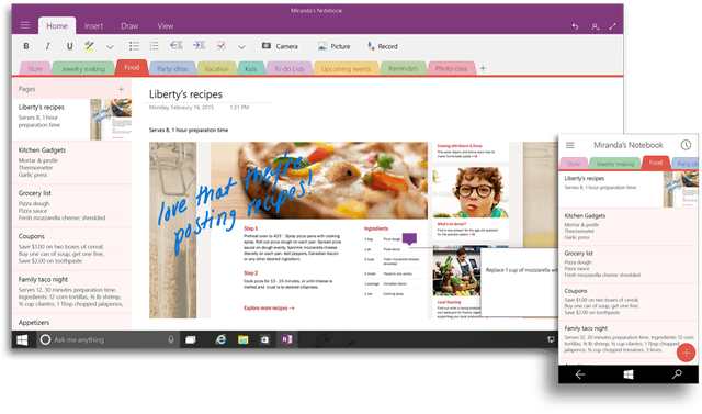 office 2016 and for windows 10 coming later this year onenote ui 900x530